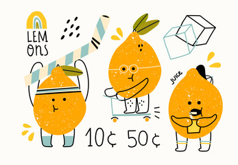 Hand drawn cute anthropomorphic lemons doing various stuff. Funny vector illustration for kids. Colored trendy set. Cartoon style. Perfect for lemonade market decoration. All elements are isolated
