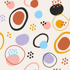 Wall Mural - Hand drawn various round and elipse shapes and dots. Doodle objects. Abstract contemporary modern trendy vector illustration. Seamless pattern. Pastel colors. Perfect for textile prints