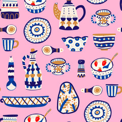Various ceramics, pottery. Dishes, pot, cup, mug, spoon, plate, jug, bowl. Ethnic ornament. Hand drawn vector seamless pattern. Colored trendy illustration. Flat design. Pink background