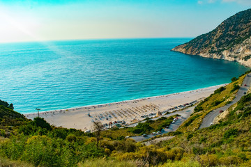 Myrtos beach in Kefalonia ionian island in Greece. One of the most famous beaches in the world with turquoise crystal clear sea waters