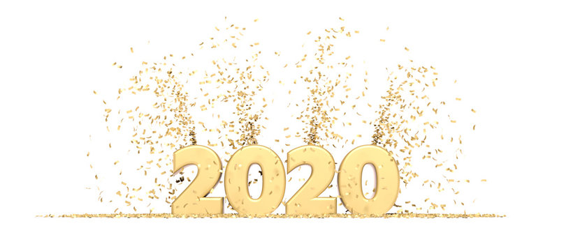 Happy New Year 2020 white background