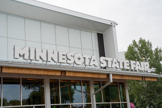 Falcon Heights, MN - August 25, 2019: Exterior sign on the Minnesota State Fair history center building