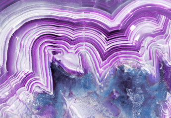 Purple  banded agate chalcedony macro with crystals