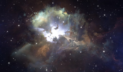 Glowing huge nebula with young stars. Space background Wall mural