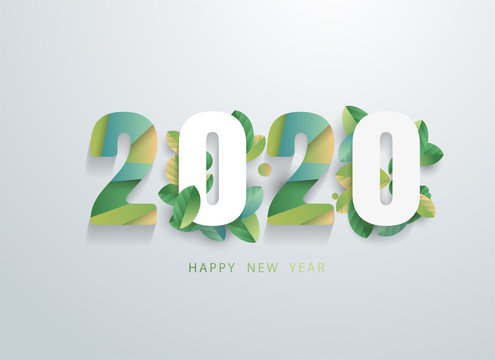 Happy 2020 new year with natural green leaves banner. Greetings and invitations, New year Christmas friendly themed congratulations, cards and natural background. Vector illustration.