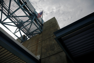 An American flag flies at the National Hurricane Center in Miami