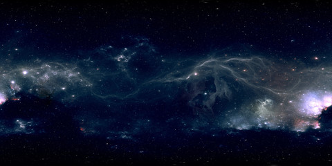 360 degree space background with glowing huge nebula with young stars, equirectangular projection, environment map. HDRI spherical panorama.