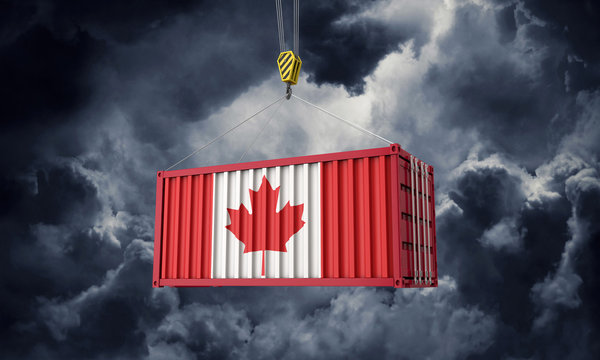 Canada trade cargo container hanging against dark clouds. 3D Render