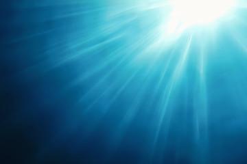 Underwater Sunlight Through Water Surface, Underwater Background Wall mural