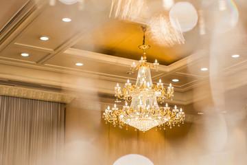 chandelier in classic room shining