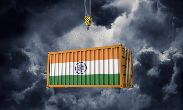 India trade cargo container hanging against dark clouds. 3D Render