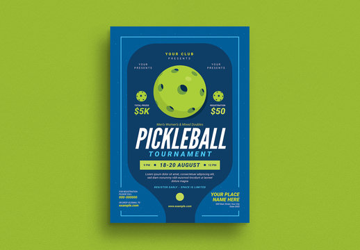 Pickle Ball Tournament Event Graphic Flyer Layout