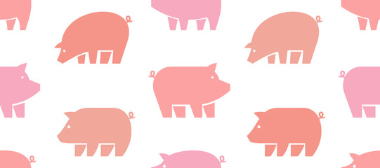 Seamless pattern with Pig logo. isolated on white background