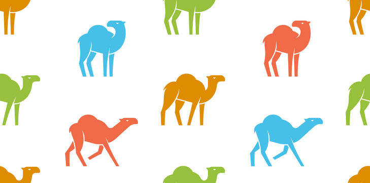Seamless pattern with Camel logo. isolated on white background