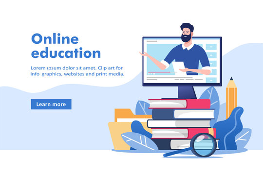 Online education or business training. Pile of books and computer with mentor. Vector illustration for mobile and web graphics.