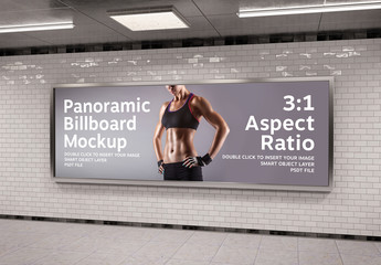 Panoramic Frame Billboard on Tile Wall Mockup