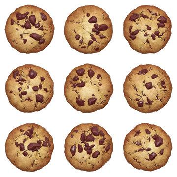 Chocolate chip cookies vector set
