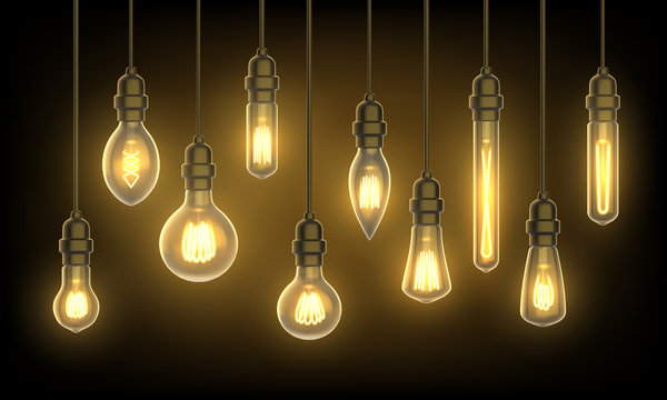 Hanging lamps or light bulbs on wire