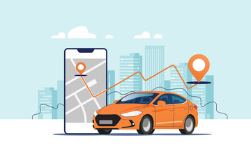 Fototapeten Licht blau Orange car, smartphone with route and points location on a city map on the urban landscape background. Car and satellite navigation systems concept vector illustration.