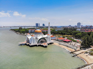 Aerial view of Malacca Straits Mosque or Masjid Selat Melaka