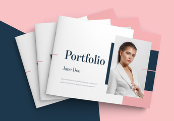 Landscape Portfolio Layout with Pink and Blue Accents