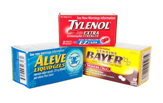 Saint Louis, MO . USA - 02.02.2011: Bayer Aspirin, Tylenol And Aleve Medicines On White Background
