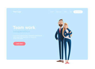 3d illustration. Business couple Emma and Billy standing on a blue background. Web banner, start site page, infographics, teamwork concept.