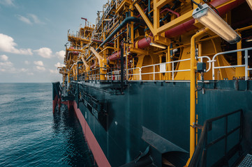 Side view of FPSO vessel