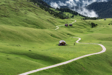 view over meadow with a path and some mountain huts