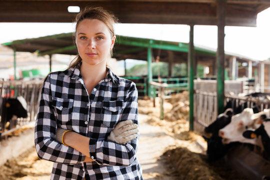 Female farmer on dairy farm