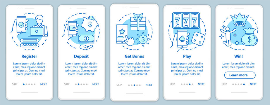 Online casino onboarding mobile app page screen with linear concepts. Register, deposit, get bonus, play and win. Walkthrough steps graphic instructions. UX, UI, GUI vector template with illustrations