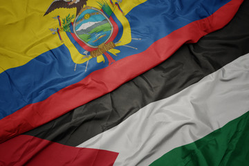 waving colorful flag of palestine and national flag of ecuador.
