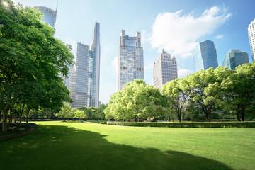 Fototapete - Green Space, Lujiazui Central, Shanghai, China
