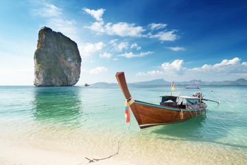 Wall Mural - wooden longtail boat at Koh Poda island in Krabi province. Ao Nang, Thailand