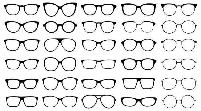 Glasses collection. Sunglasses set. Vector