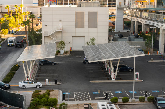 Tesla Solar Powered Supercharger Version 3 Las Vegas