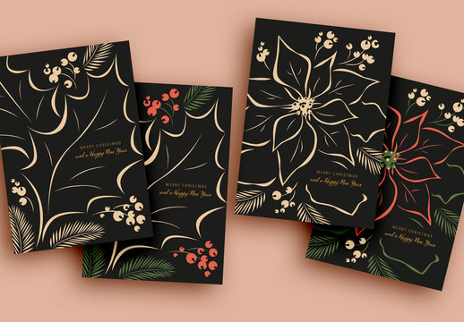 Christmas Cards Layout Set with Holly Illustrations