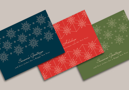 Christmas Cards Layout Set with Abstract Snowflake Illustrations