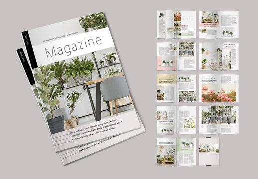 Magazine Layout with Pale Color Accents