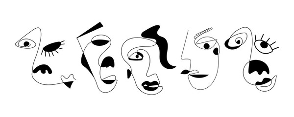 Set of five abstract face one line drawing. Portrait minimalistic style. Fine one line drawing abstract face. One line drawing abstract faces. Modern continuous line art