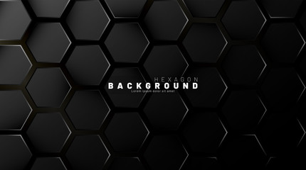 Abstract black hexagon pattern on a technology style of neon gradient background. Honeycomb. Vector illustration