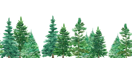 Seamless border of watercolor Christmas green trees. Spruce and holiday tree. Hand-drawn illustration.