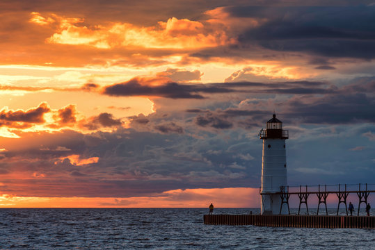 Sunset at the Manistee North Pier Light