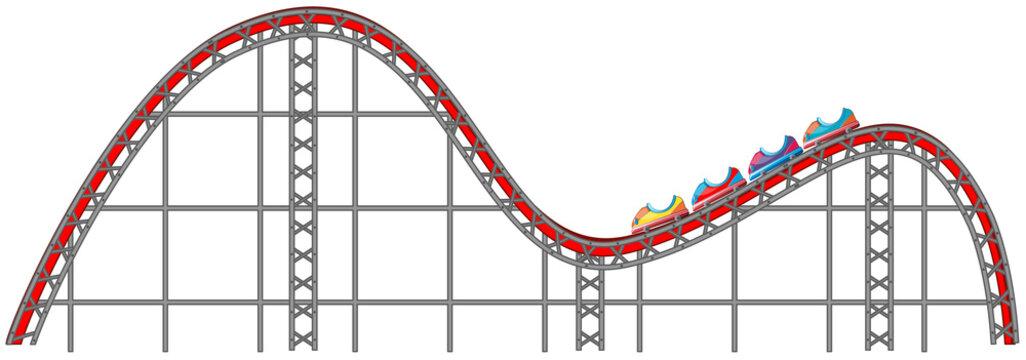 Roller coaster track on white background