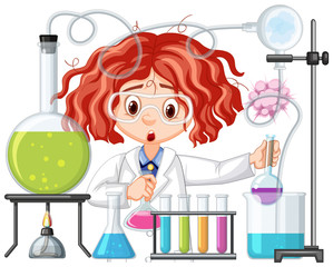 Canvas Prints Kids Scientist doing experiment in science lab