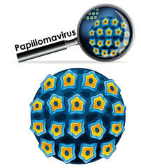 Close up isolated object of virus Papillomavirus