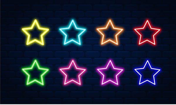 Star neon vector set. Star neon icon. Star neon symbol.Star neon led electric