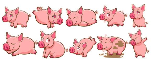 pig vector set graphic clipart design