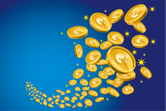 飛び散るコイン(お金・ユーロ)のイラスト|ギャンブル・ファイナンス・金融のイメージ|Spreading gold coins