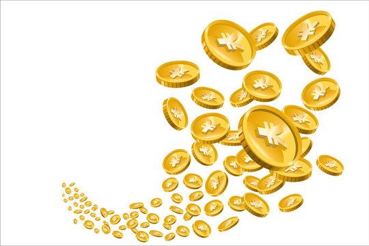 飛び散るコイン(お金・日本円)のイラスト|ギャンブル・ファイナンス・金融のイメージ|Spreading gold coins